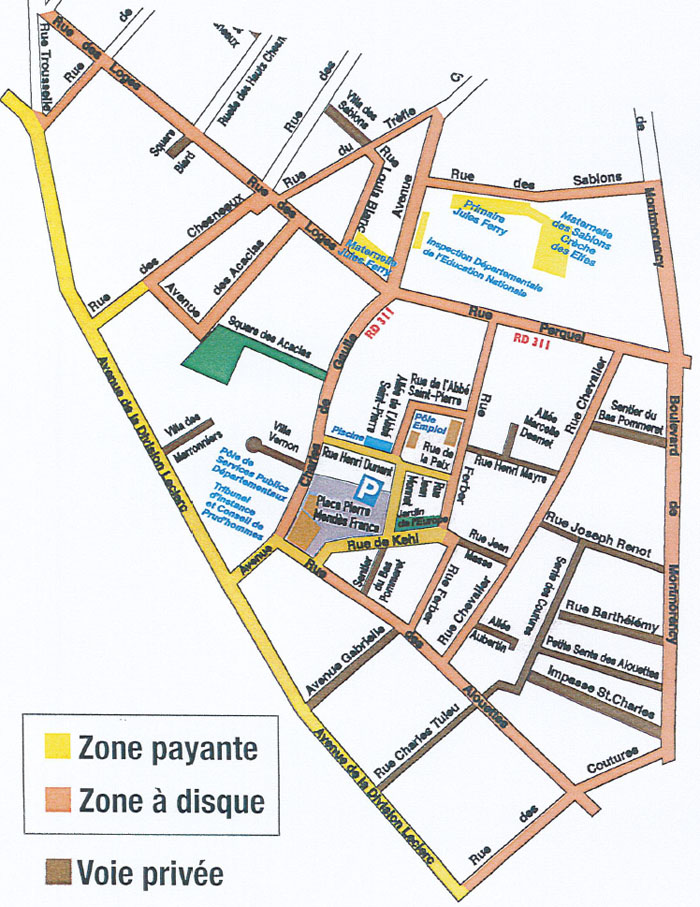 Plan stationnement payant  Montmorency