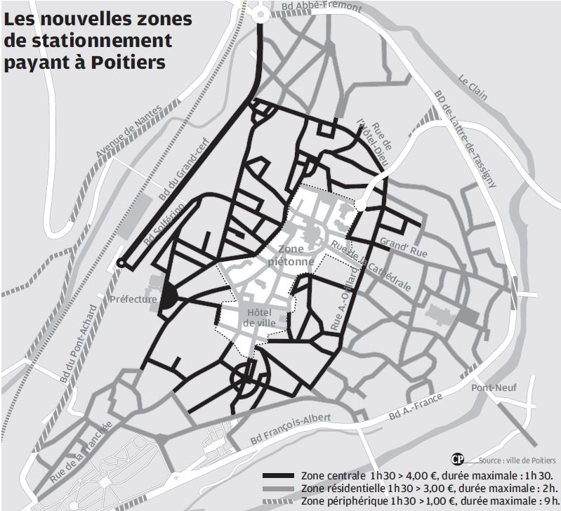 Plan stationnement payant  Poitiers