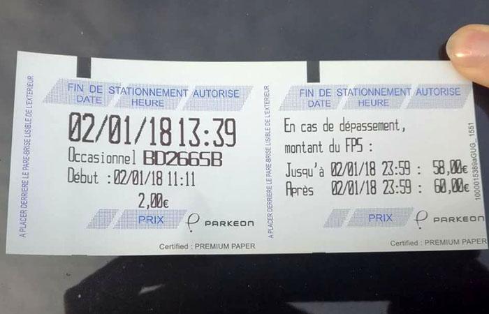 Ticket stationnement FPS 60 euros